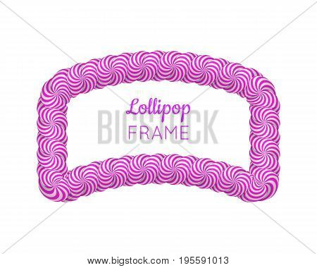 Lollipop violet frame. Sweet candy poster, wall, photo decoration, to capture every memory. Realistic vector illustration on white background