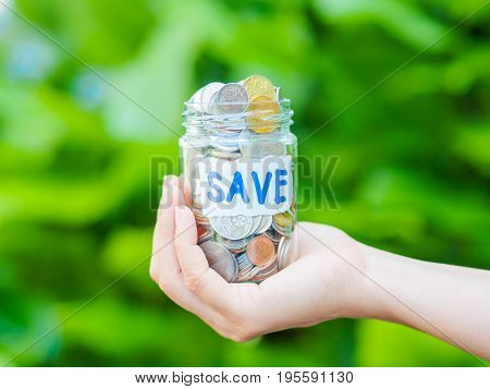 abstract money saving women hand holding glass jar Coins with green tree background
