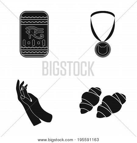 Pharaoh's symbol, medal and other  icon in black style. hand care, croissant icons in set collection.