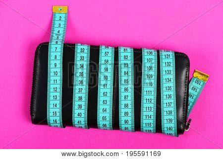 Money Saving And Fashionable Items Concept With Black Leather Wallet