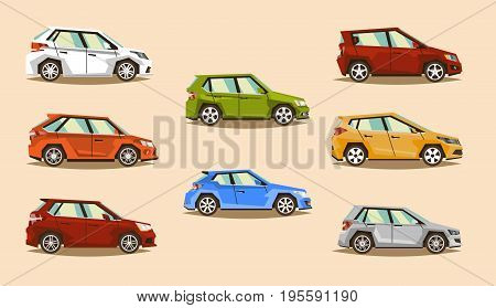 Car Set. Vehicle hatchback. The image of toy machines. Objects isolated on background. Vector illustration. Flat style.