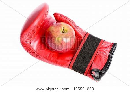 Boxing Gloves In Red Color. Sport Equipment And Fruit