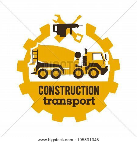 Logo concrete mixers, construction vehicles. Special equipment, truck. The tool for the job. Drill, wrench, screwdriver, gear Vector illustration Flat style
