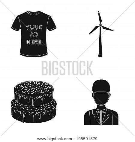 T-shirt with advertising, wind generator and other  icon in black style. cake, jockey icons in set collection.