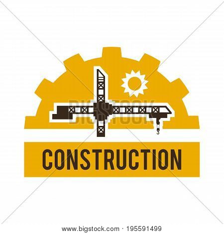 Logo construction crane. Special machinery and equipment. Vector illustration. Flat style.