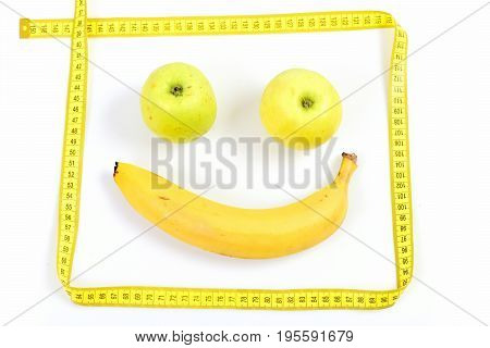 Banana And Two Green Apples Makes Happy Face