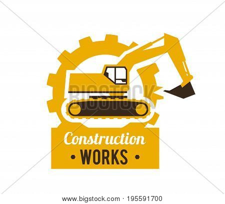 Excavator logo. Construction site. Special equipment. Against the background of the gear. Vector illustration. Flat style.