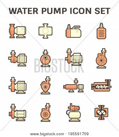 Vector icon of electric water pump and steel pipe for water distribution isolated on white background.