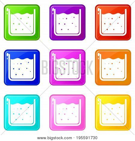 Beaker filled with liquid icons of 9 color set isolated vector illustration
