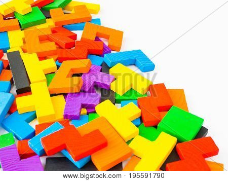 Education concept- The tangram puzzle colorful wooden puzzle for kid on white background