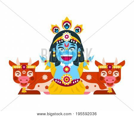 Lord Krishna sitting in cows environment. Decorations, holiday, lotus posture, meditation, animal, peacock tail. Vector illustration. Flat style.