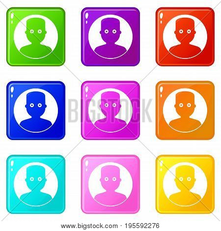 Man in the dark icons of 9 color set isolated vector illustration