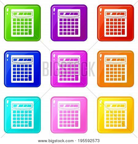 Electronic calculator icons of 9 color set isolated vector illustration