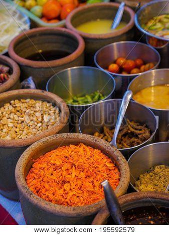 Ingredients For Som Tam Or Som Tum (thai Papaya Salad)