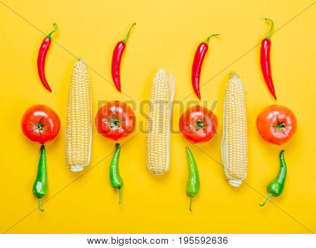 Hili Pepper And Tomatoes With Corns
