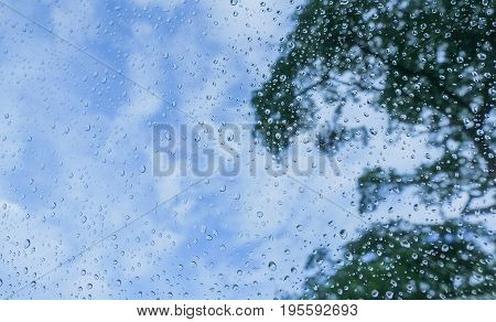 Natural water drop on window background. fresh water drops background