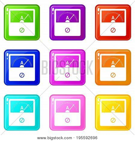Counter icons of 9 color set isolated vector illustration