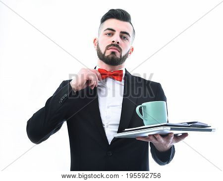 Businessman With Beard, Confident Face And Red Bow Tie
