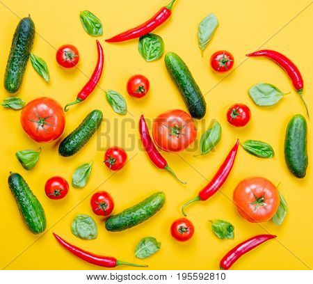 Chili Pepper And Tomatoes With Cucumbers