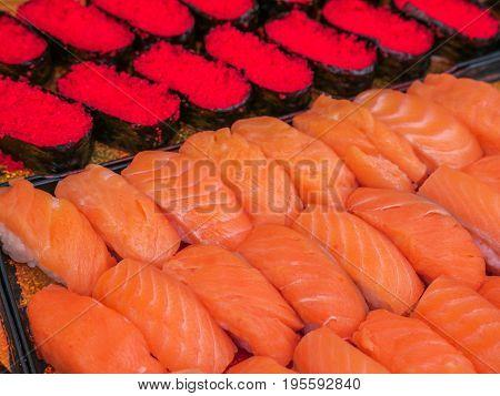 Salmon Nigiri, Salmon Sushi With Tobiko Sushi