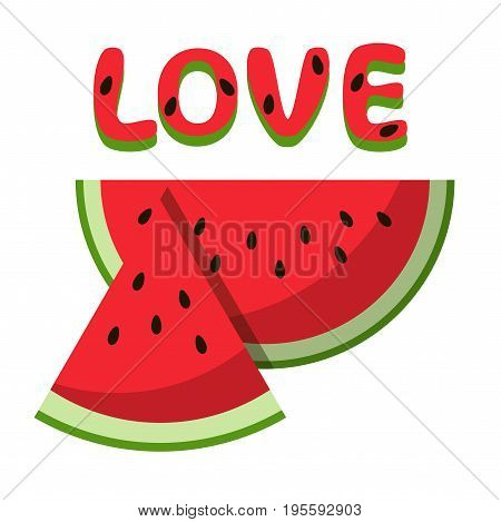 Watermelon red slice summer love isolated icon design positive funny flat vector illustration on white background