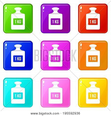 One kilogram weight icons of 9 color set isolated vector illustration