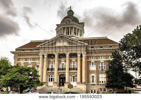 Pulaski Tennessee USA - June 23 2017: Front entrance of the Giles County courthouse built in 1909 in Pulaski Tennessee.