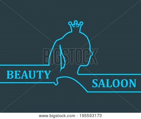 Vintage queen silhouette. Medieval queen profile. Elegant outline silhouette of a female head. Hair saloon emblem design. Royal emblem with Q letter