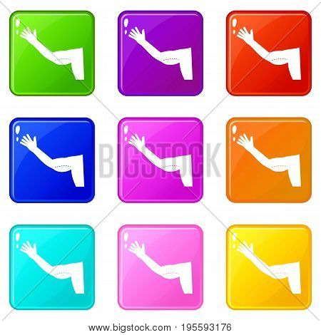 Flabby arm cosmetic correction icons of 9 color set isolated vector illustration