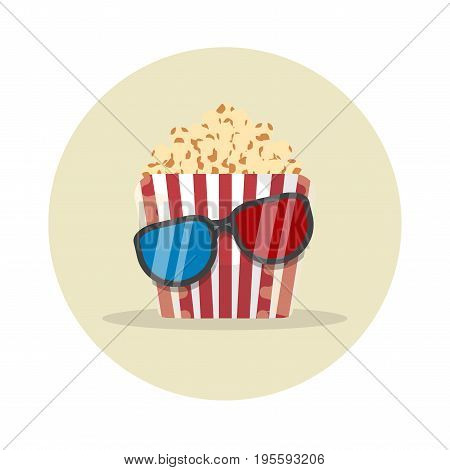 Bucket with popcorn and 3D glasses for an evening watching a movie paper box icon corn flat vector illustration on white background in round
