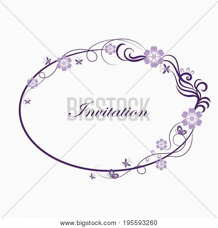 Beautiful oval simple ornamental frame in violet colors.