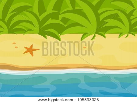 Sunny tropical beach bright tropic jungle landscape sea flat vector illustration sand and water relax graphics ocean background