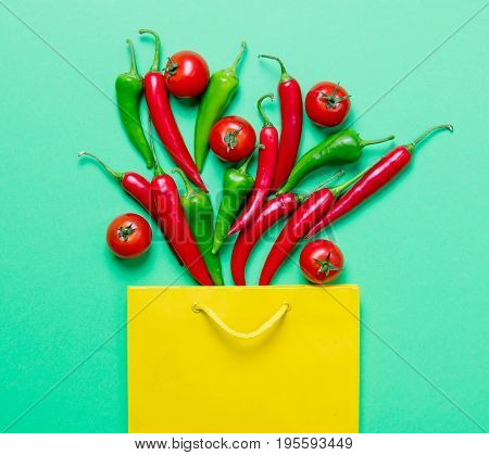 Chili Pepper And Shopping Bag Ant Tomatoes
