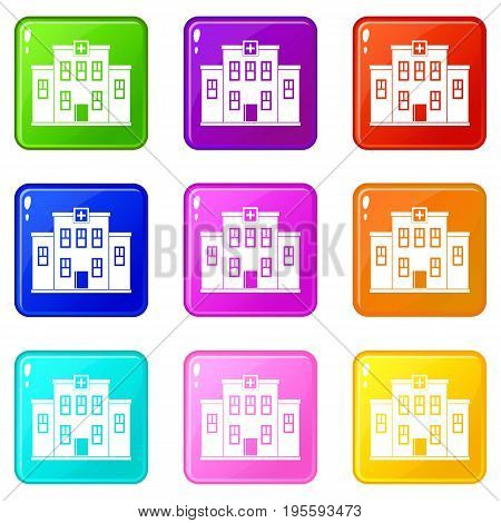 City hospital building icons of 9 color set isolated vector illustration