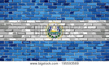 Flag of El Salvador on a brick wall - Illustration,  Abstract grunge background vector