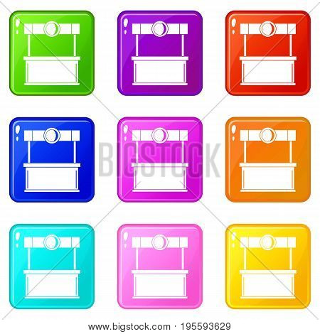 Shopping counter icons of 9 color set isolated vector illustration