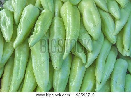Organic healthy fresh garden greeen paprika at market