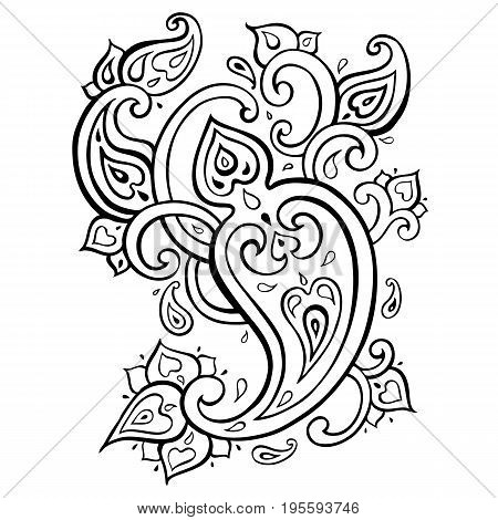 Paisley Ethnic ornament. Elegant Hand Drawn pattern. Vector illustration isolated.