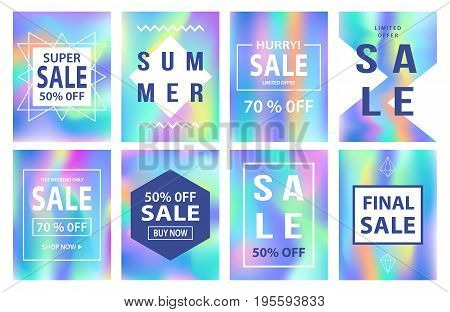 Sale banners template set for online shopping, mobile, website design. Social media posters, promotional material, ads, email marketing, newsletter. Holographic neon background. Vector Illustration