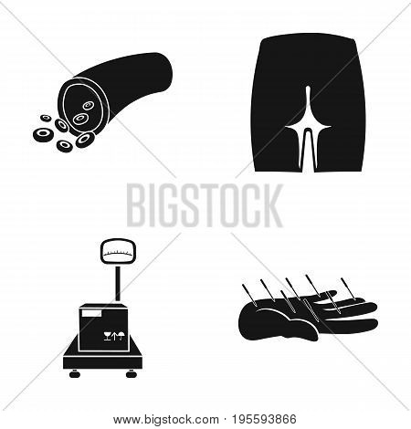 Forester, buttock and other  icon in black style.scales, acupuncture