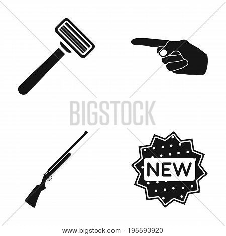 A razor, an index gesture and other  icon in black style. a gun, a label icons in set collection.