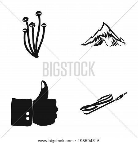 Mushrooms, mountain and other  icon in black style. thumb up, cable icons in set collection.