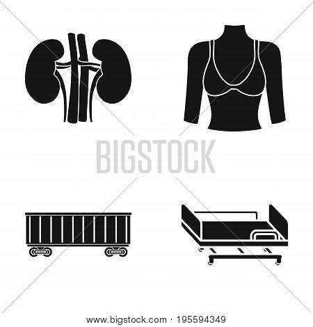 Kidneys, female bust and other  icon in black style. Railway car, medical bed icons in set collection.
