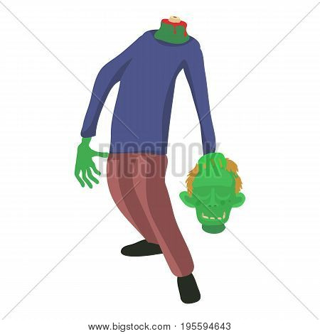 Zombie without head icon. Cartoon illustration of zombie vector icon for web