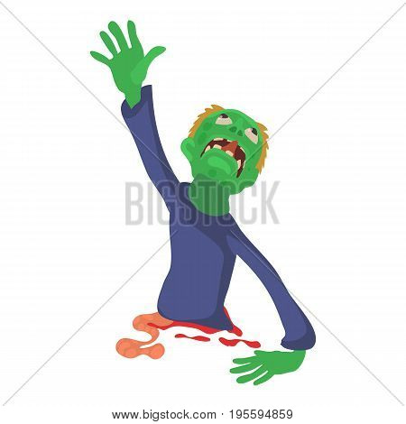 Zombie without lower body icon. Cartoon illustration of zombie vector icon for web