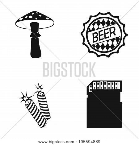 Amanita, beer and other  icon in black style. petard, micro CD icons in set collection.