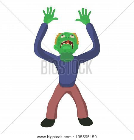 Zombie looks up icon. Cartoon illustration of zombie vector icon for web