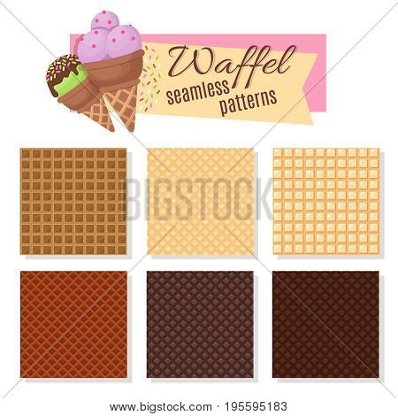 Ice cream waffel cone seamless vector patterns. Set of waffle pattern for ice cream illustration