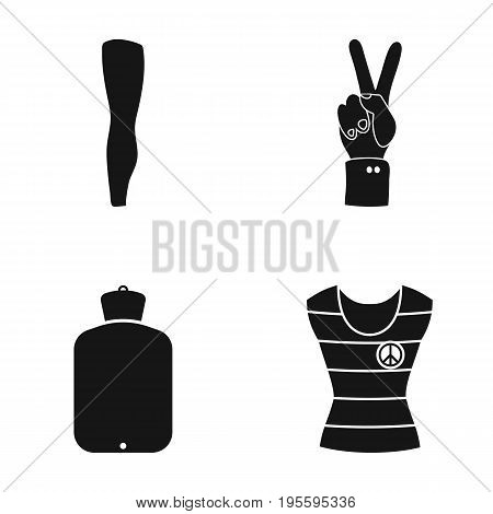 Leg, tin and other  icon in black style.warmer, shirt icons in set collection.