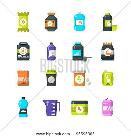 Sports nutrition supplements and protein flat icons. Energy drink and power bar vector symbols. Power energy for fitness and drink for sport illustration